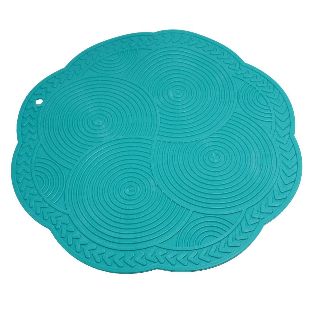 Kitchen Soft Plastic Blue Flower Shaped Heat Insulation Felt Pad Mat