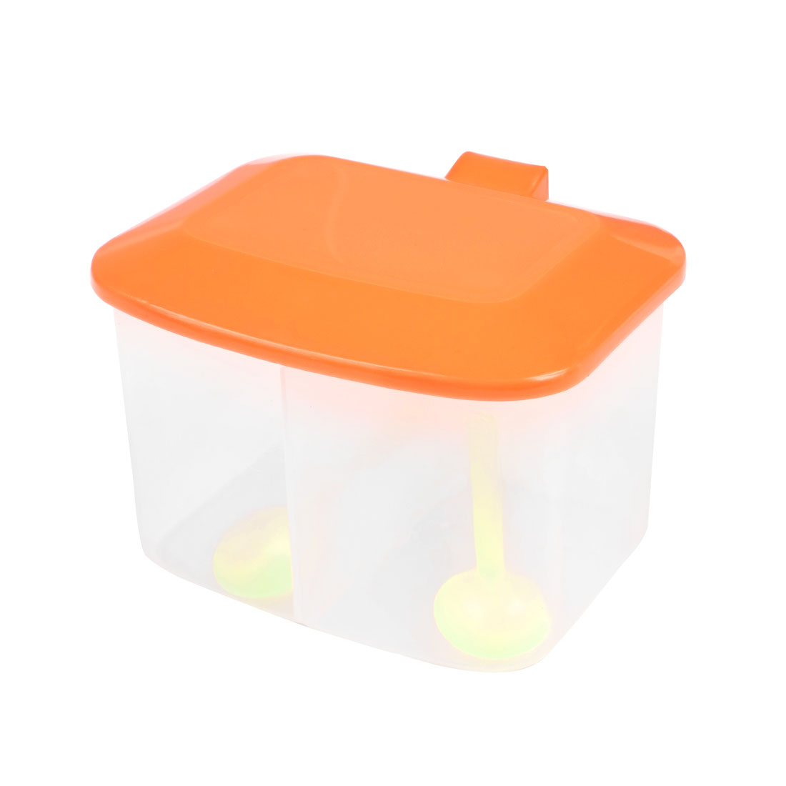 Kitchen Orange Red Plastic 2 Seasoning Box Spices Condiment Container Case