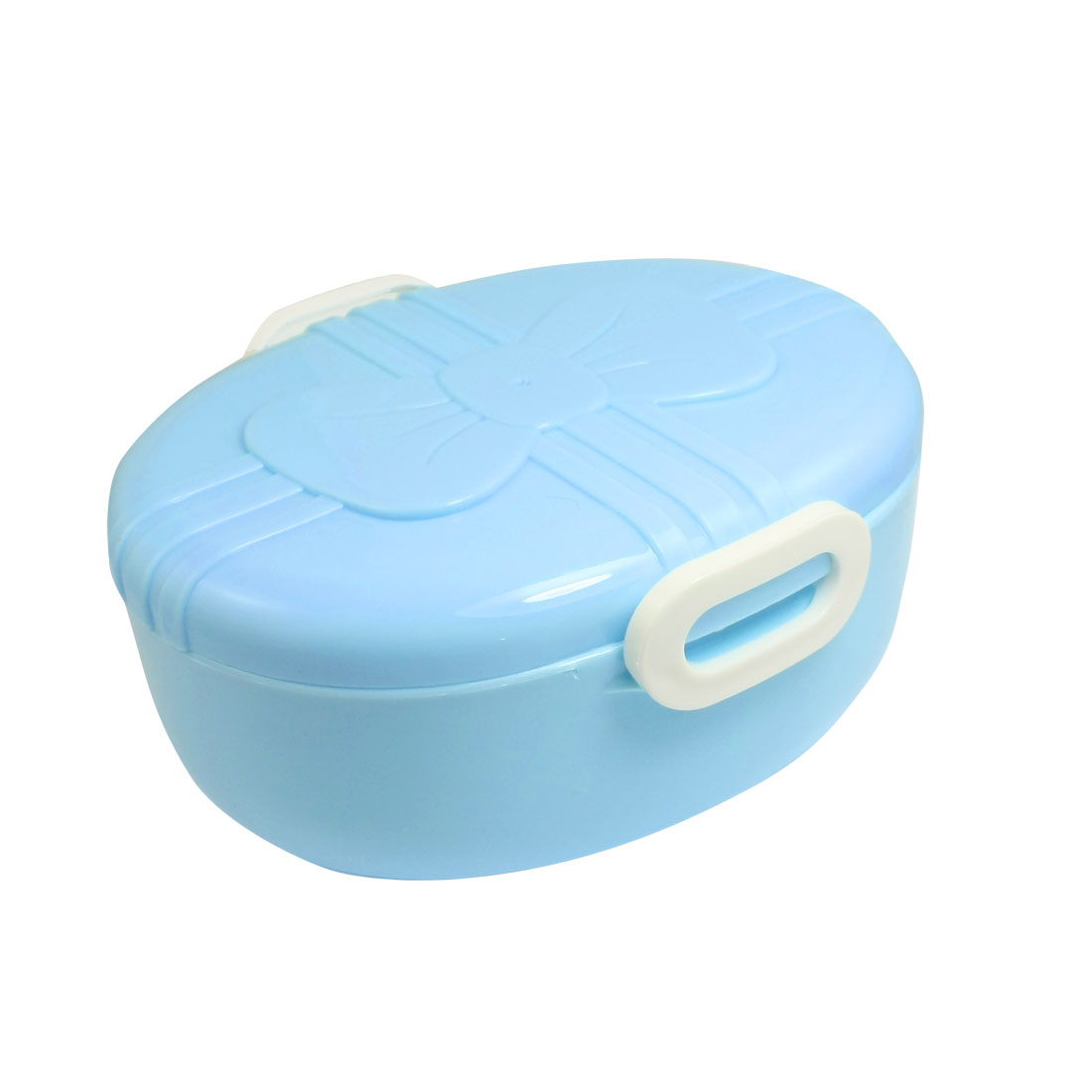 Bow Tie Pattern Baby Blue Plastic Lunch Box Food Storage Container w Spoon