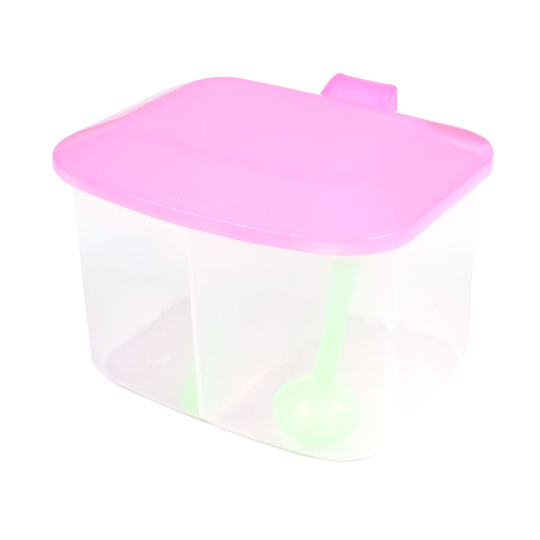 Family Clear Pink Plastic 2 Seasoning Box Spices Condiment Container Case
