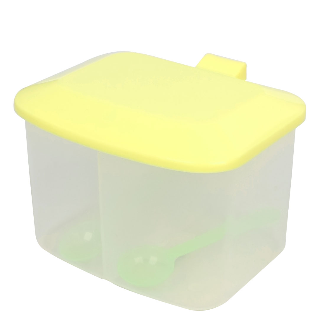 Home Kitchen Yellow Plastic 2 Seasoning Box Spices Condiment Container Case