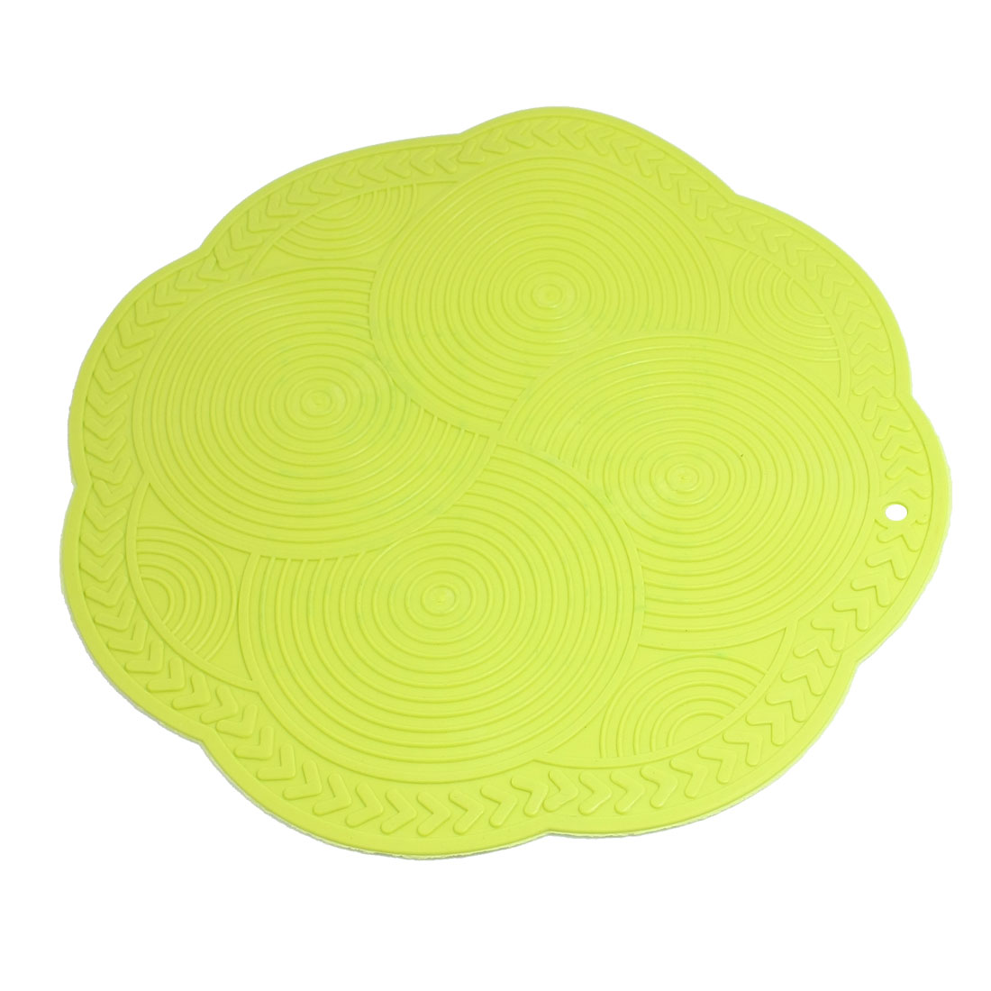 Kitchen Soft Plastic Yellowgreen Flower Shaped Heat Insulation Felt Pad Mat