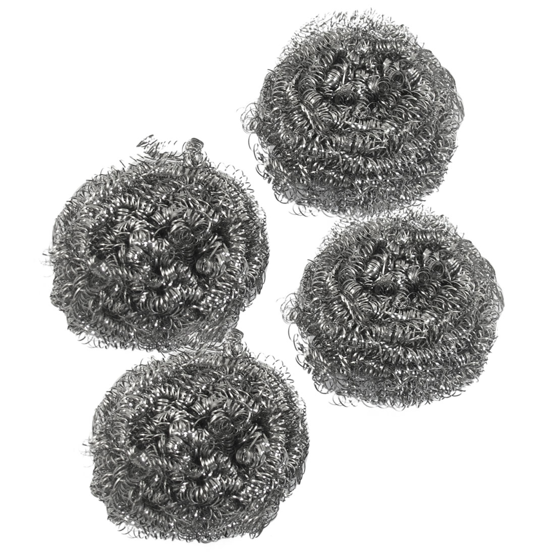 Kitchen Dish Pot Cleaning Steel Wire Spiral Scourer Ball 4 Pcs