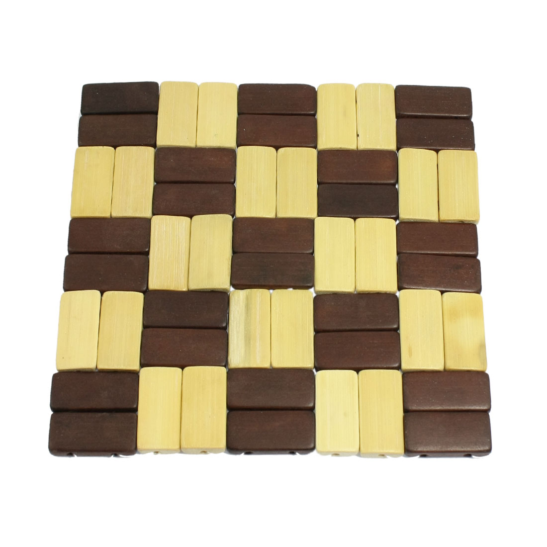Square Shaped Bamboo Beige Brown Cup Bowl Heat Insulation Mat