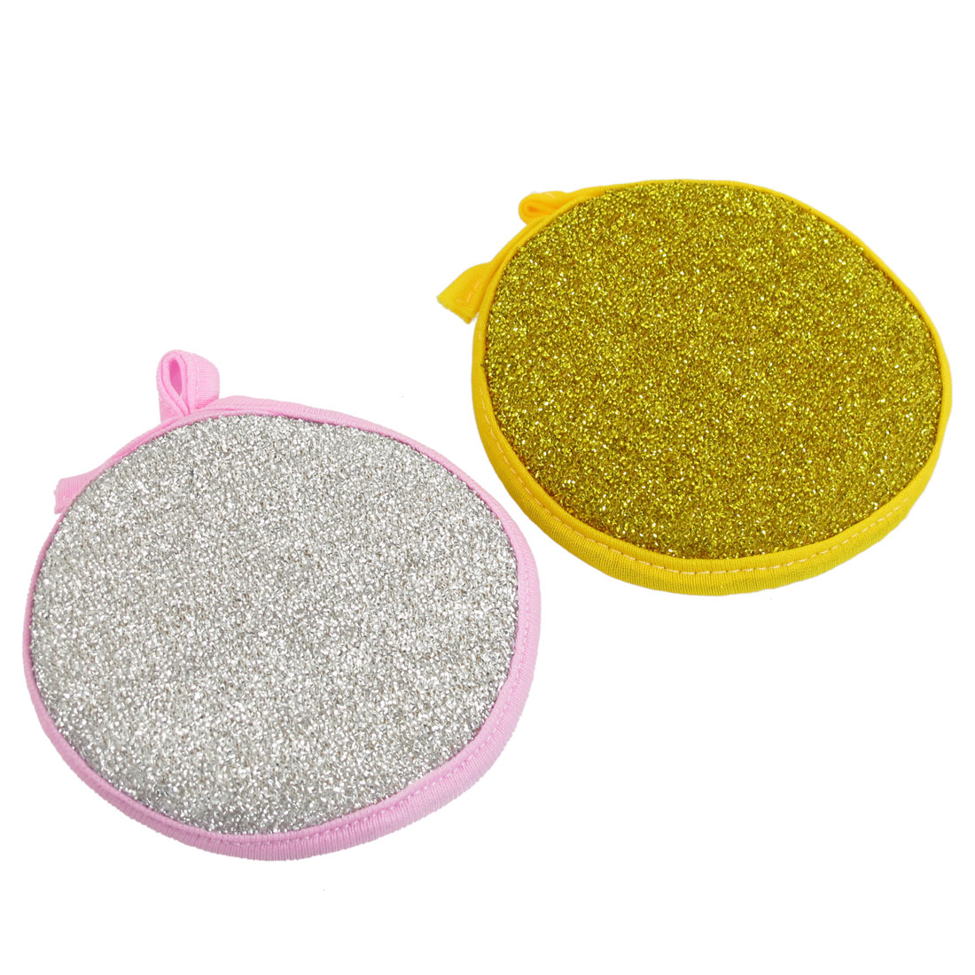 Two Tone Round Shape Metallic Scrub Sponge Dish Pad Cleaner 2 Pcs