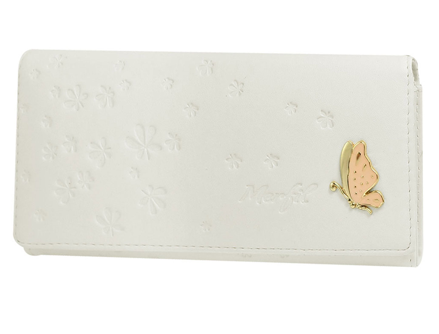 Ladies White Leaf Gold Tone Butterfly Detail Faux Leather Wallet Purse
