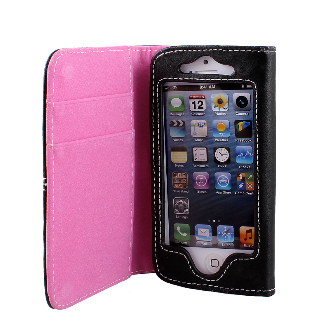 Pink Black Faux Leather Flip Case Cover Pouch Protector for Apple iPhone 5 5G