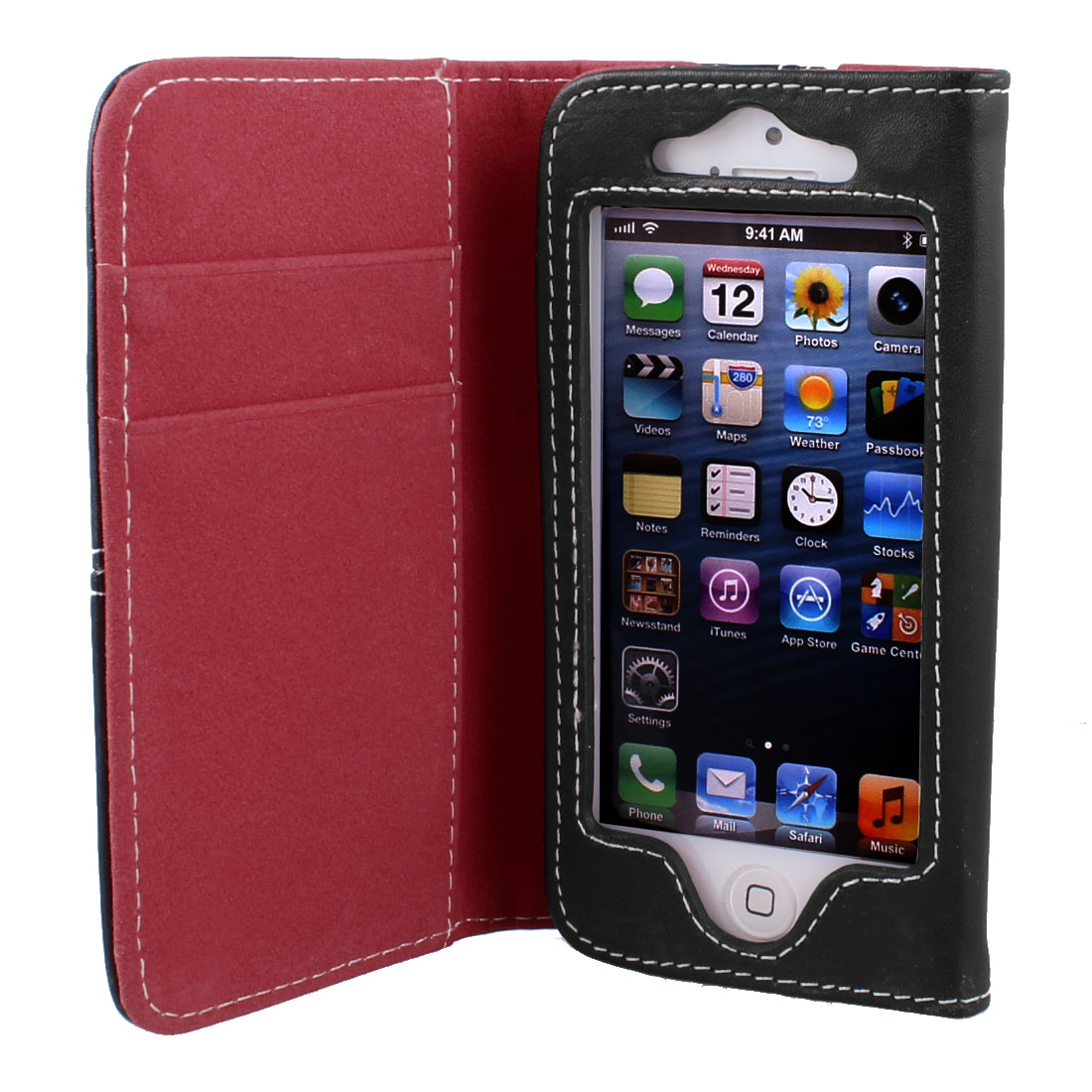Red Black Faux Leather Flip Case Cover Pouch Protector for Apple iPhone 5 5G