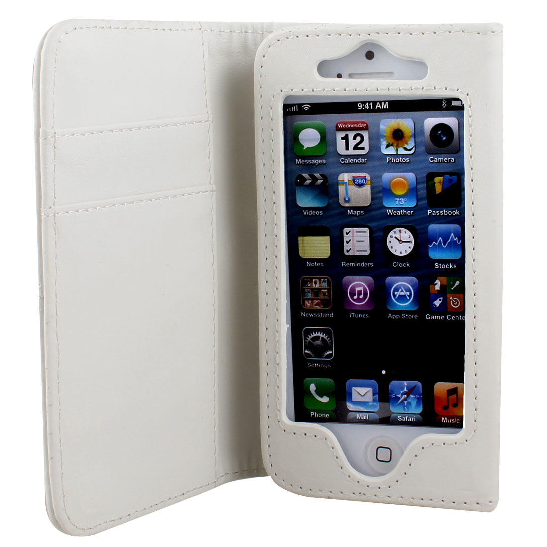 White Faux Leather Flip Case Cover Pouch Protector for Apple iPhone 5 5G 5th