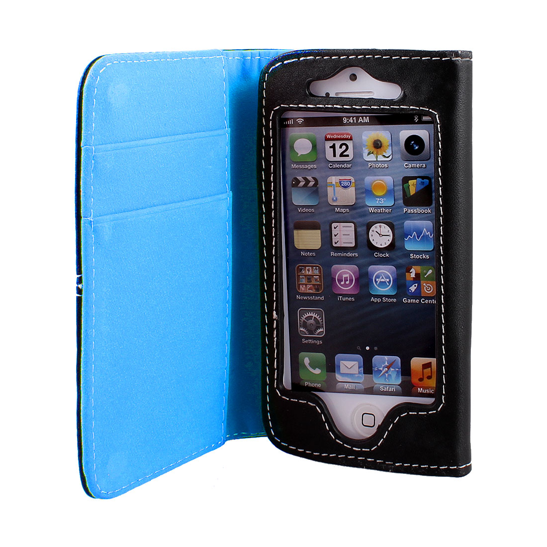 Blue Black Faux Leather Flip Case Cover Pouch Protector for Apple iPhone 5 5G