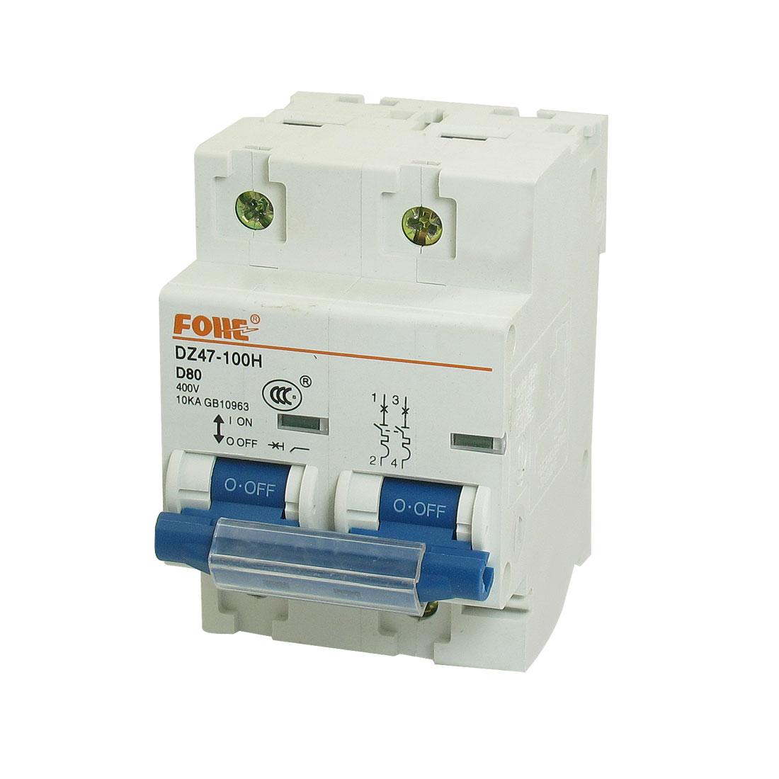 AC 400V 80A 10KA 2P 2 Pole Miniature Circuit Breaker DIN Rail DZ47-100H D80