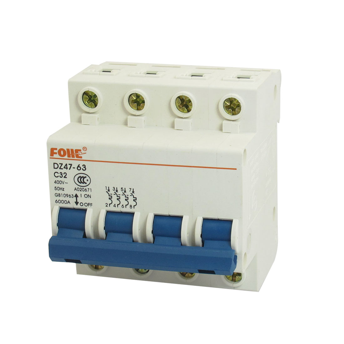 DZ47-63 C32 4P DIN Rail Mounted MCB Miniature Circuit Breaker 6000A 32A 400V AC