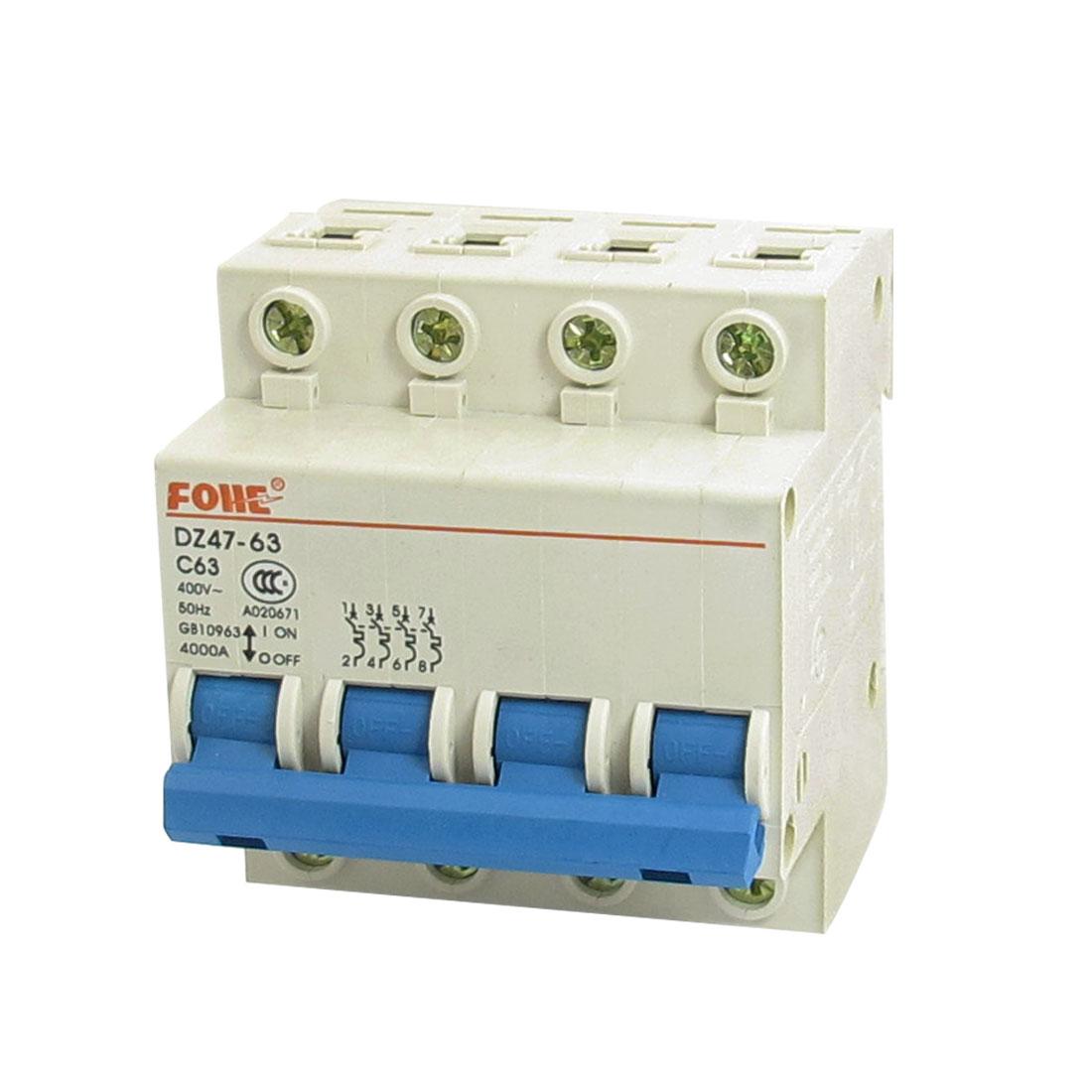 AC 400V 63A 4000A 4P 4 Pole Miniature Circuit Breaker DIN Rail DZ47-63 C63