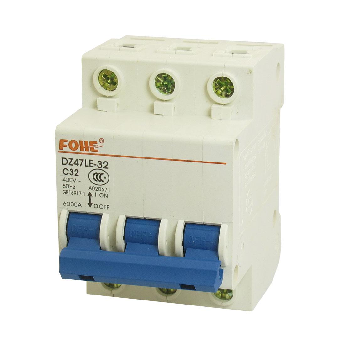 AC 400V 32A 6000A 3P 3 Pole Miniature Circuit Breaker DIN Rail DZ47LE-32 C32