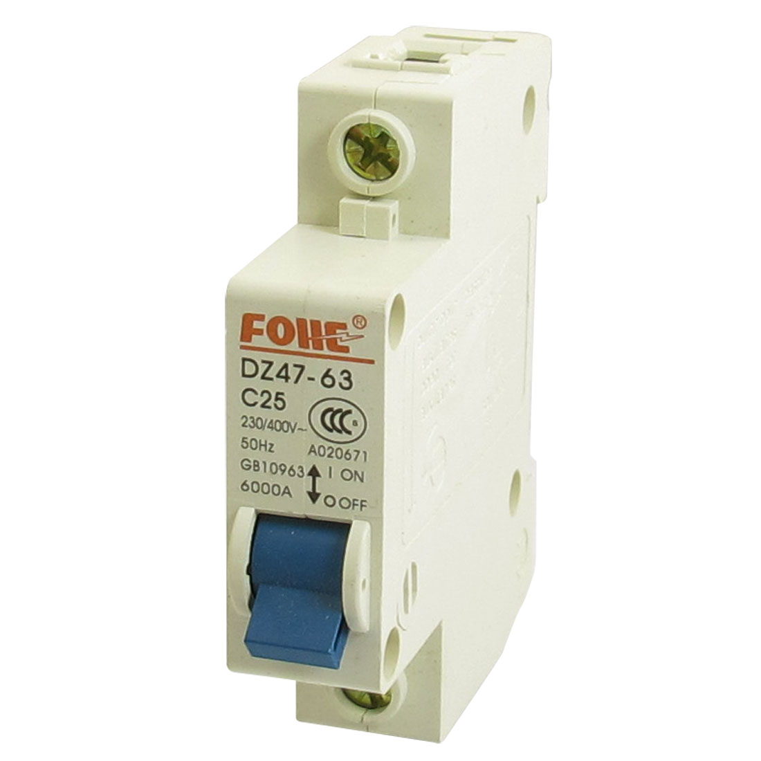 AC 230/400V 25A 6000A 1P 1 Pole Miniature Circuit Breaker DIN Rail DZ47-63 C25