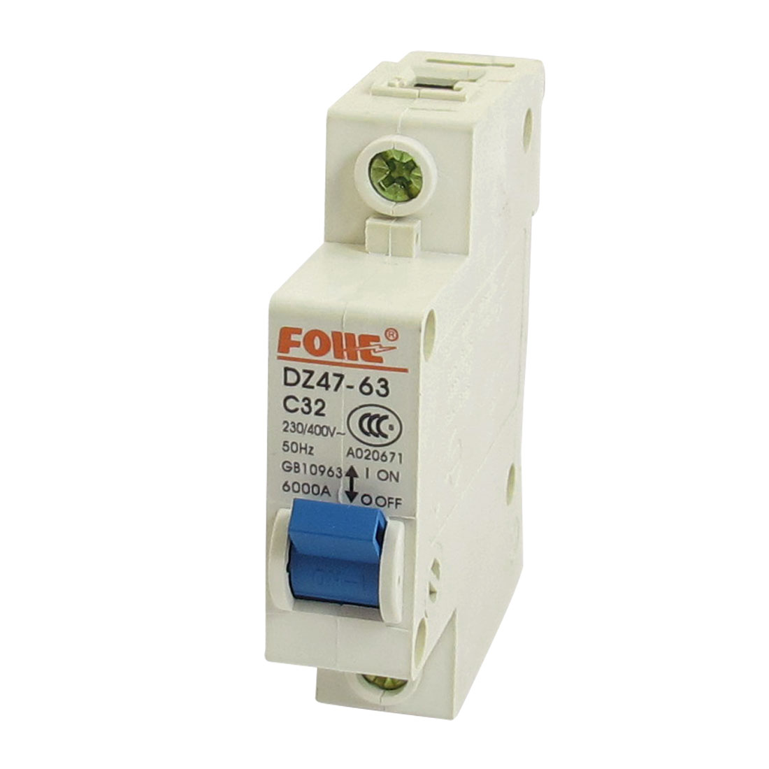 AC 230V 400V 32A 1 Pole 1P On/Off Switch Miniature Circuit Breaker DZ47-63 C32