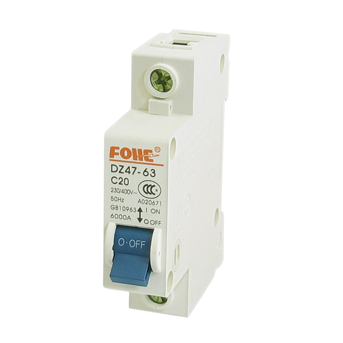 AC 230V 400V 20A 1 Pole 1P On/Off Switch Miniature Circuit Breaker DZ47-63 C20