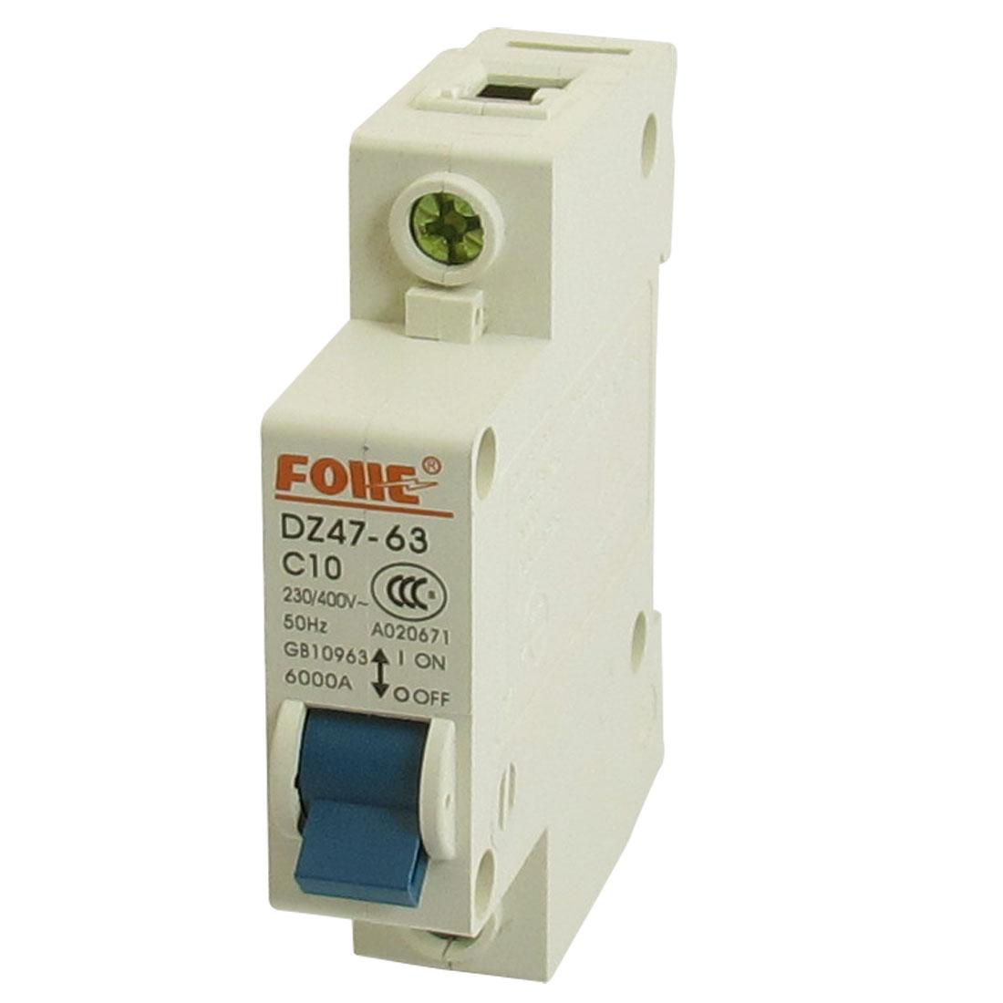 AC 230/400V 10A 6000A 1P 1 Pole Miniature Circuit Breaker DIN Rail DZ47-63 C10