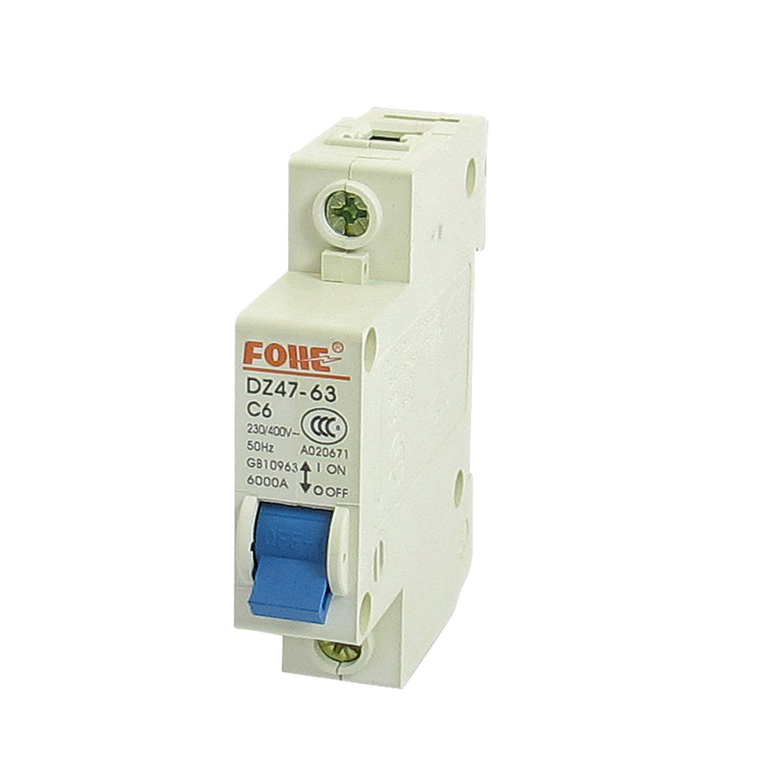 AC 230V 400V 6A 1 Pole 1P On/Off Switch Miniature Circuit Breaker DZ47-63 C6