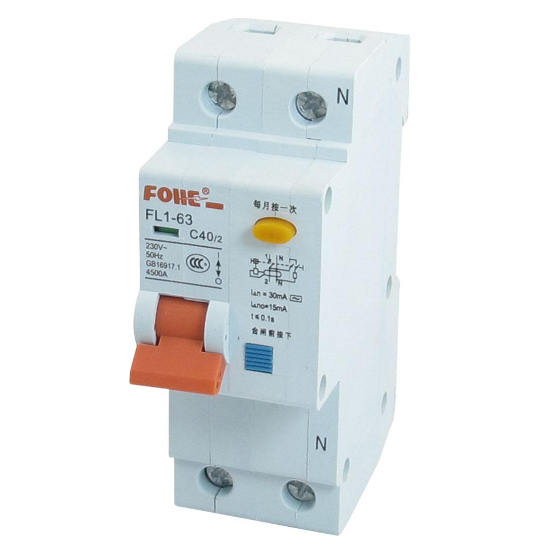 AC 230V 40A 4500A 1P 1P+N Miniature Circuit Breaker DIN Rail FL1-63 C40