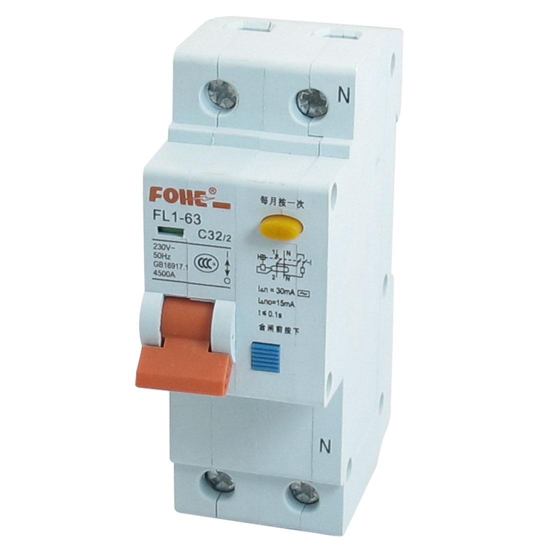 AC 230V 32A 4500A 1P 1P+N Miniature Circuit Breaker DIN Rail FL1-63 C32