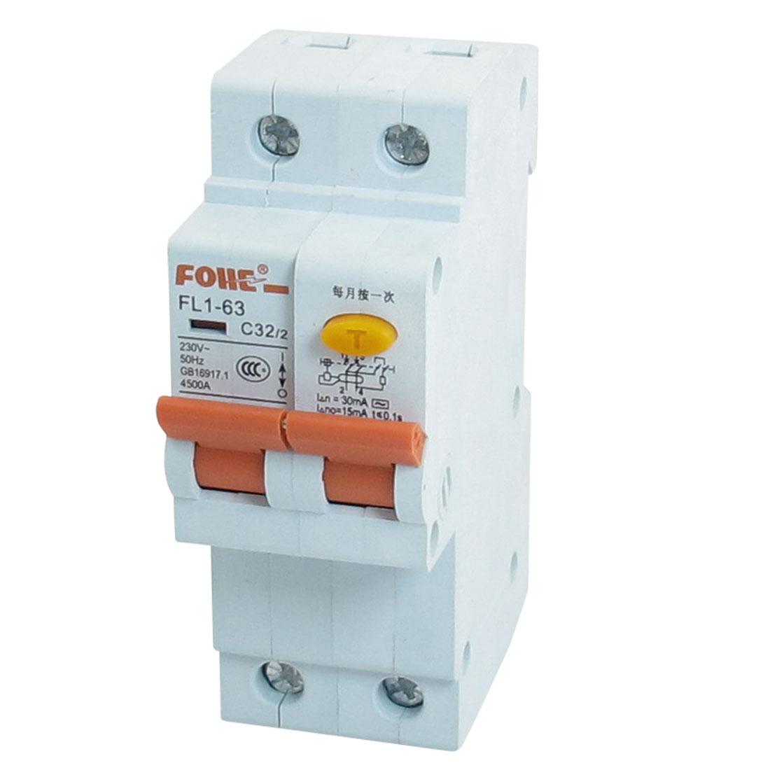 FL1-63 C32 2 Pole DIN Rail Mount MCB Miniature Circuit Breaker 4500A 32A 230V AC