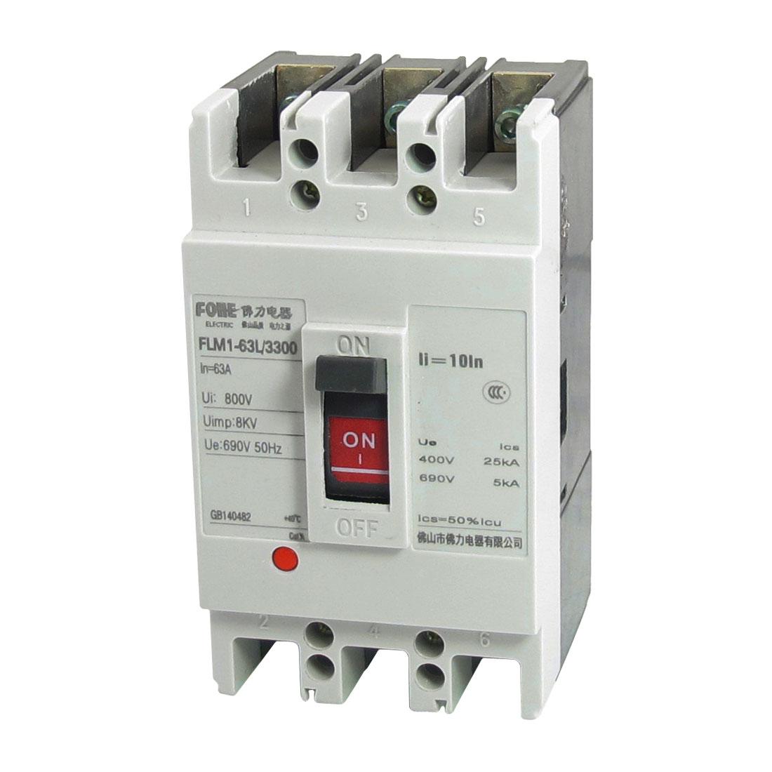 FLM1-63L/3300 MCCB Moulded Case Circuit Breaker 3 Poles 8KV 63A 690V AC