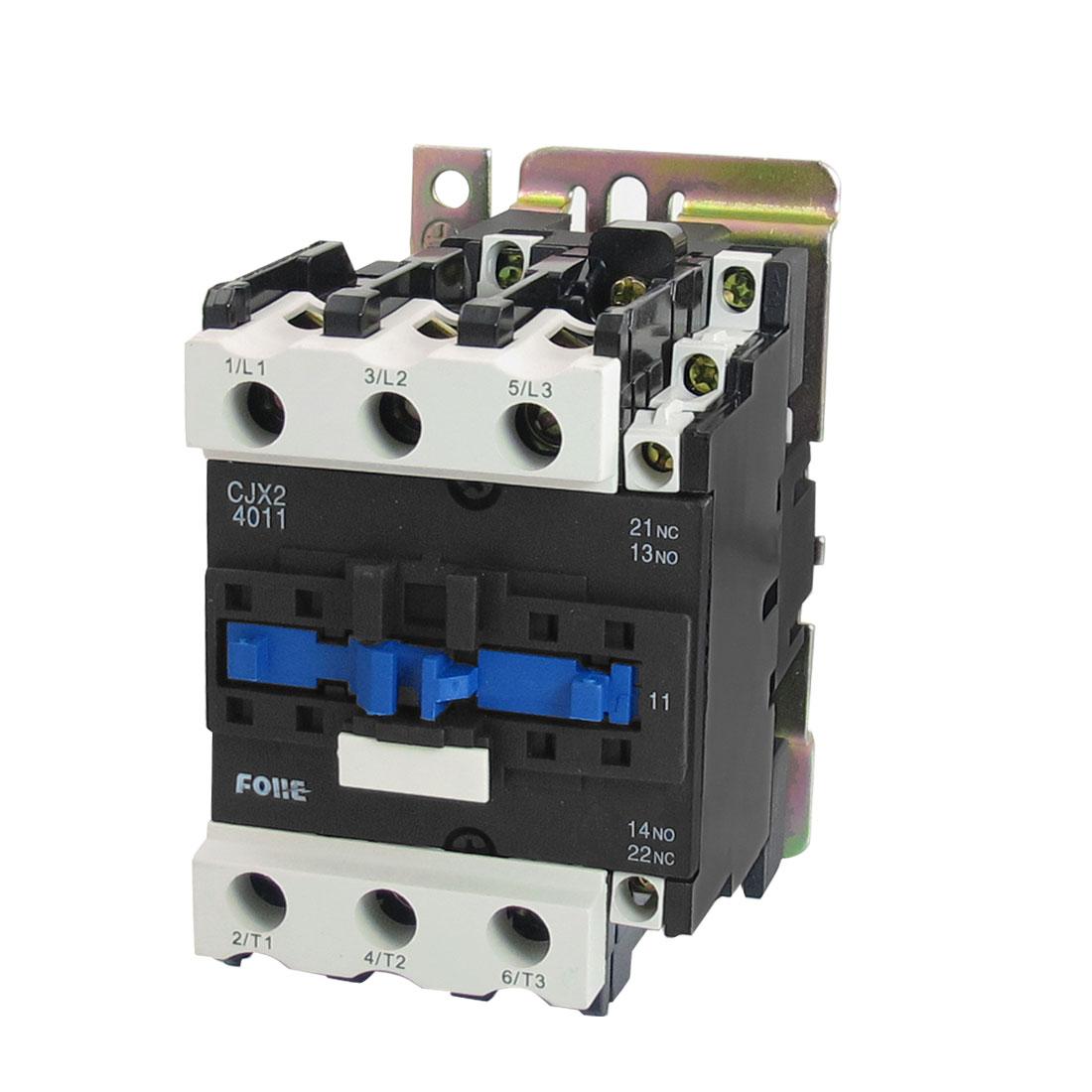 CJX2-4011 220V 40A 18.5KW 3 Poles 3P NO NC DIN Rail AC Contactor 380V Coil