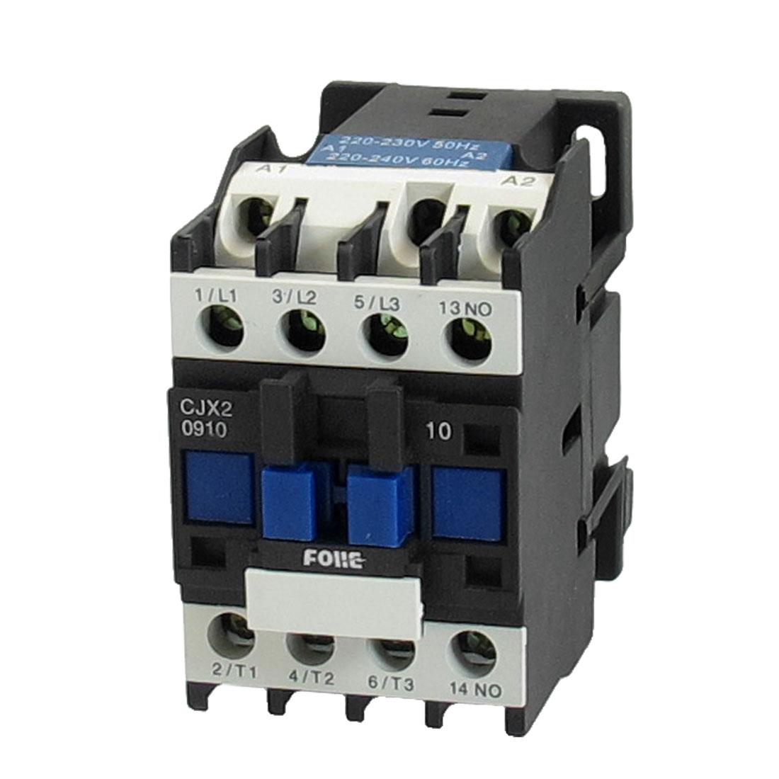 220-240V Coil Motor Controler AC Contactor 3P 3 Pole NO 660V 5.5KW CJX2-0910