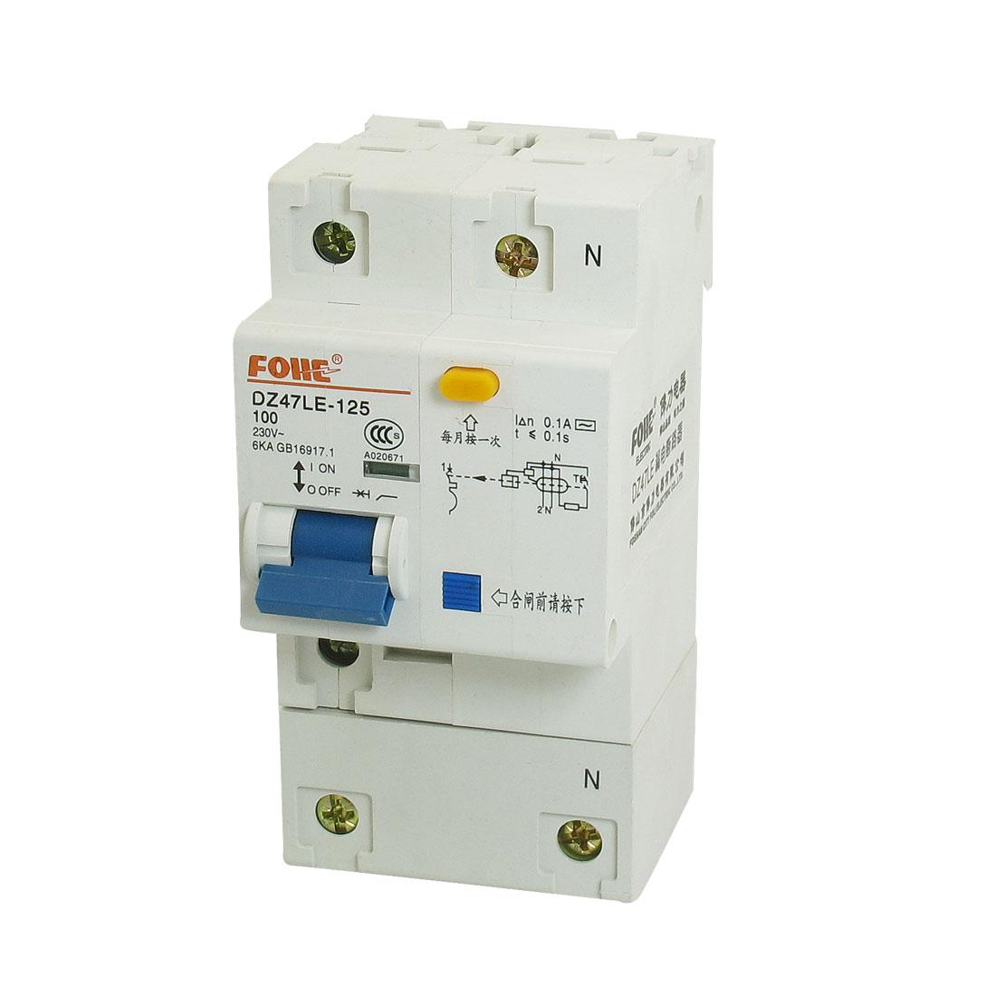 AC 230V 100A 6KA 1P 1P+N Miniature Circuit Breaker DIN Rail DZ47LE-125