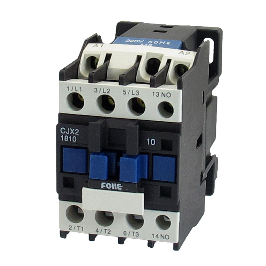 380V 7.5KW 3 Phase 3P N/O AC Contactor DIN Rail Mount 220V Coil CJX2-1810