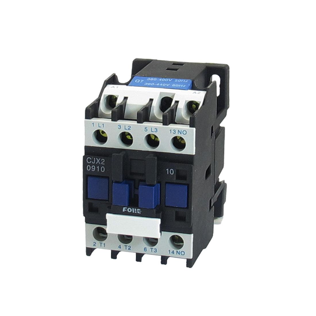 CJX2-0910 220V 9A 2.2KW 3 Poles 3P NO DIN Rail AC Contactor 380-415V Coil