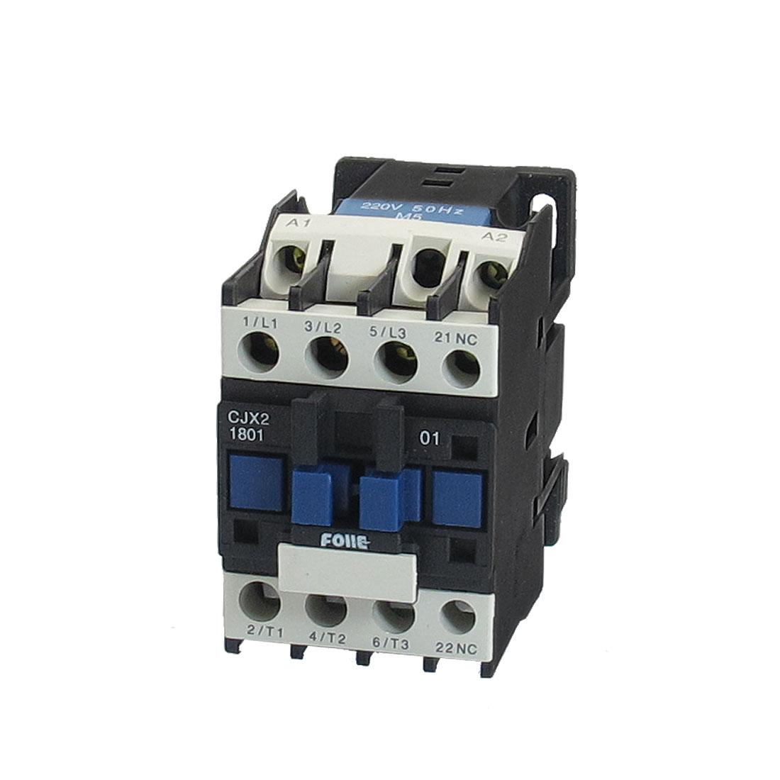 CJX2-1810 380V 18A 220V Coil 3 Pole 3P NC DIN Rail AC Contactor