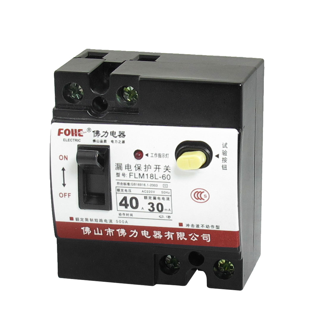 AC 220V 40A 2 Pole 2P On/Off Switch Earth Leakage Circuit Breaker FLM18L-60