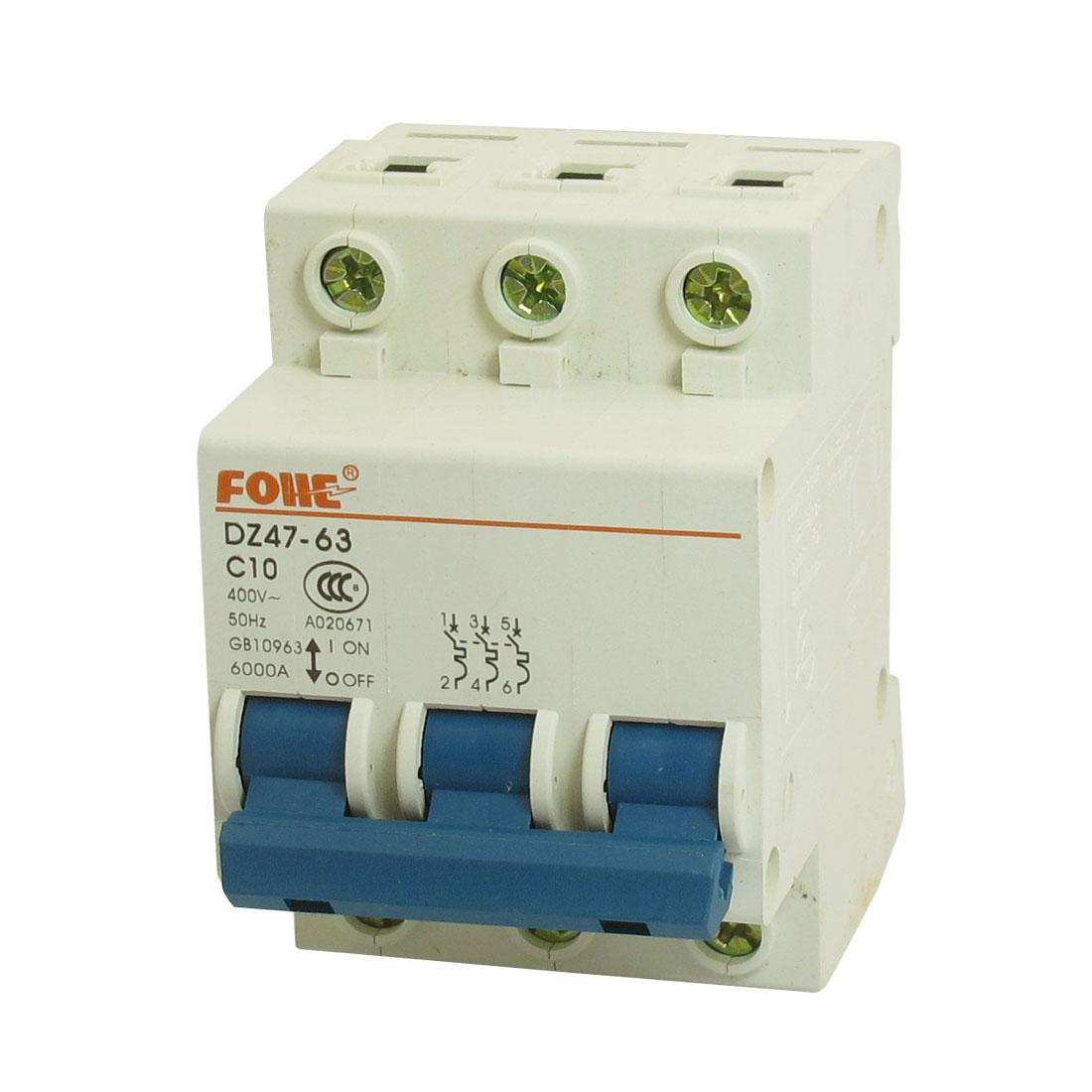 DZ47-63 C10 3P DIN Rail Mount MCB Miniature Circuit Breaker 6000A 10A 400V AC