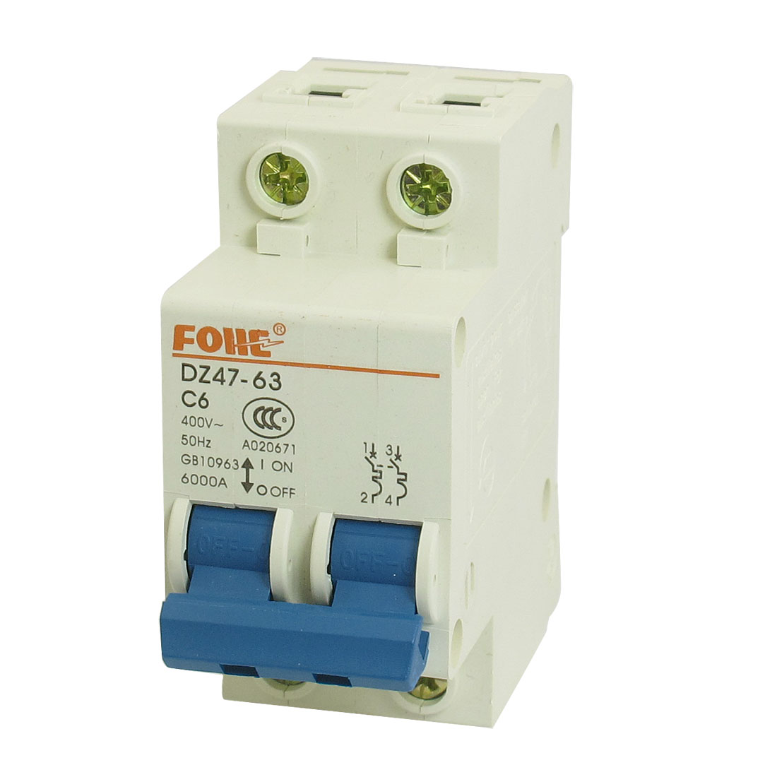 AC 400V 6A 2 Pole 2P On/Off Switch Miniature Circuit Breaker DZ47-63 C6