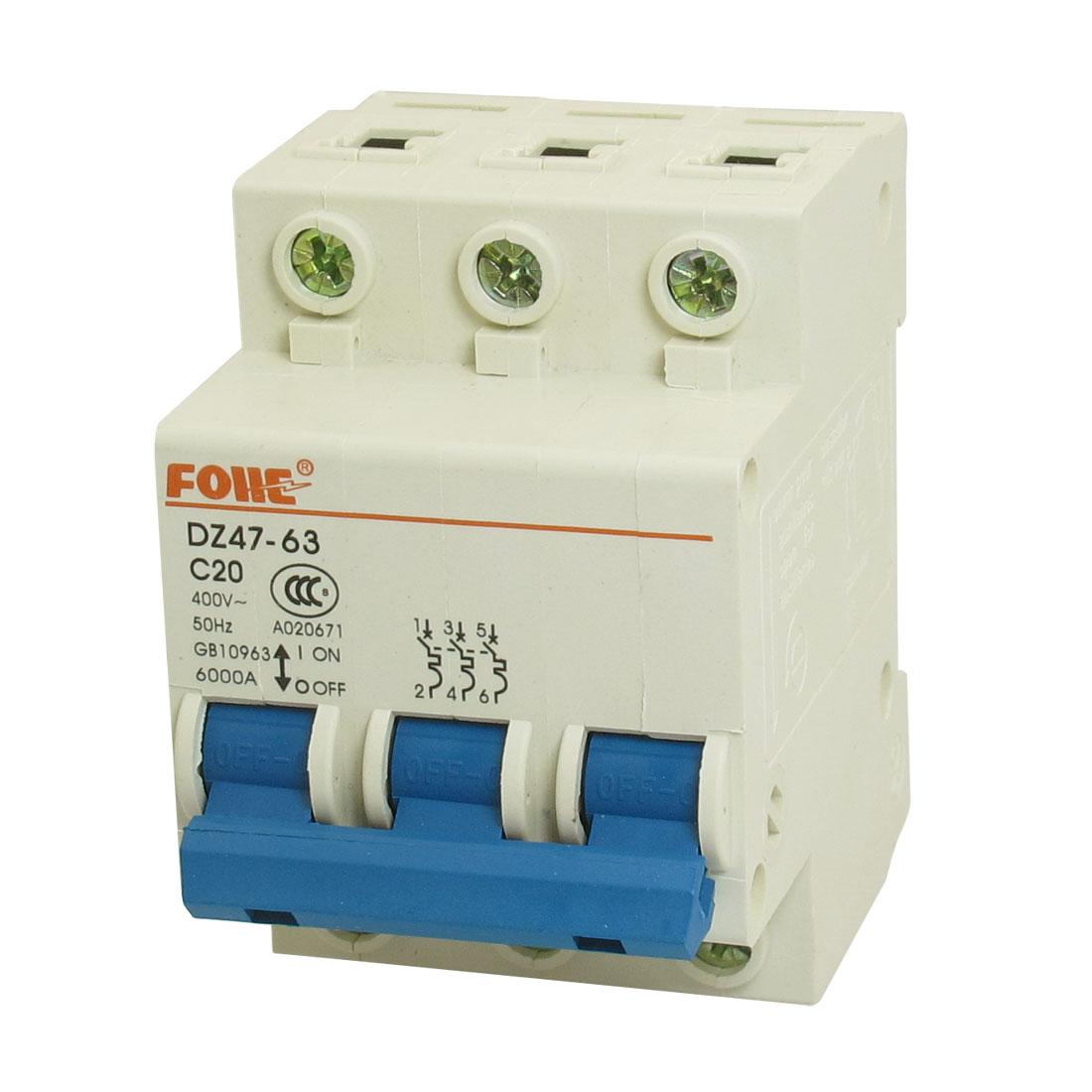 DZ47-63 C20 3P DIN Rail Mounted MCB Miniature Circuit Breaker 6000A 20A 400V AC