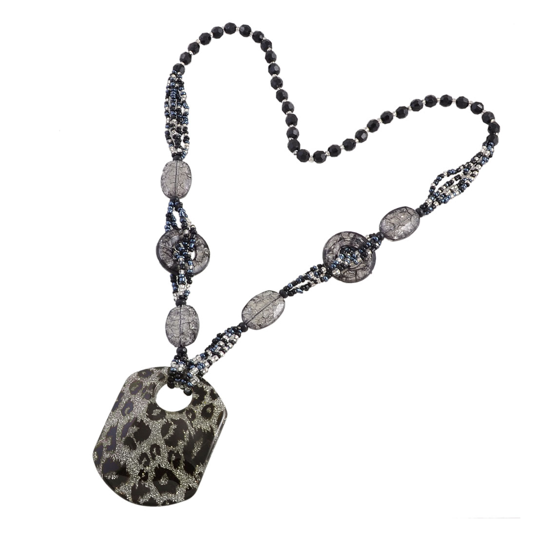 Lady Black Faceted Beads Linked Leopard Print Rectangle Pendant Sweater Necklace