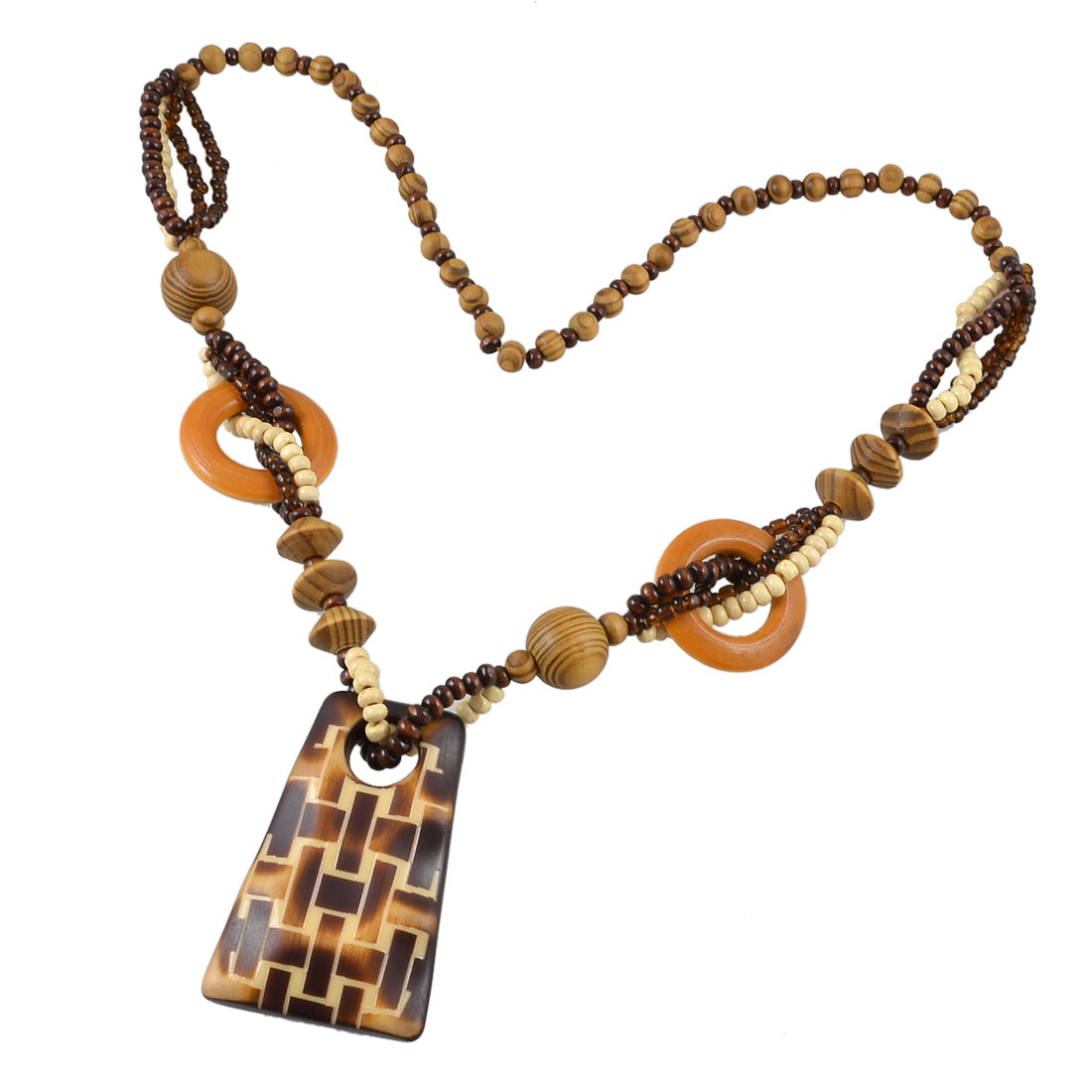 Women Wooden Beads Linked Neck Strand Trapezoid Pendant Sweater Necklace