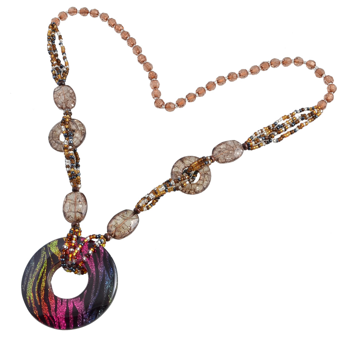 Lady Colorful Beads Glittery Powder Zebra Print Round Pendant Sweater Necklace