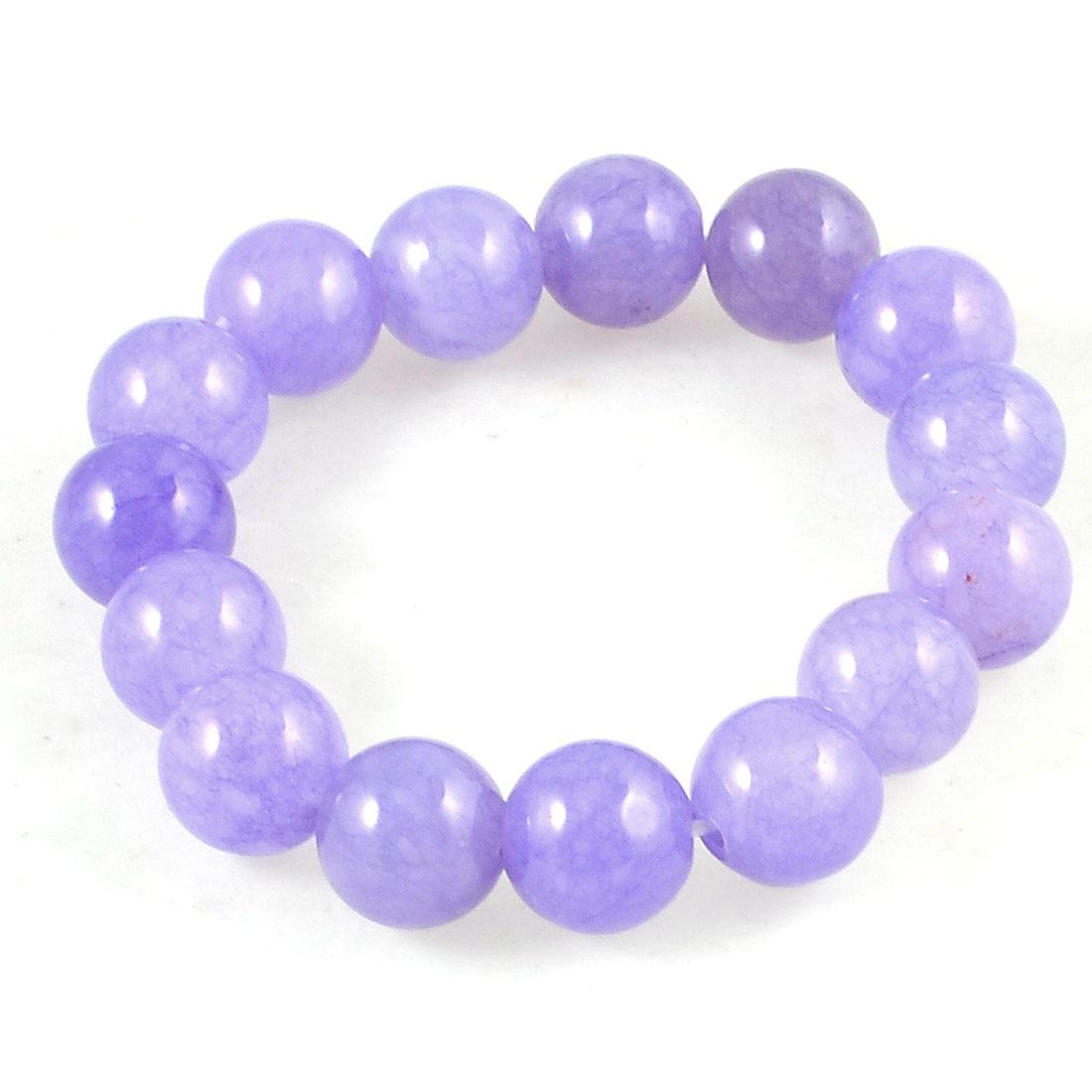 Lady Men Synthetic Gem Stone Purple 13mm Dia Round Beaded Stretch Bracelet Wrist Bangle