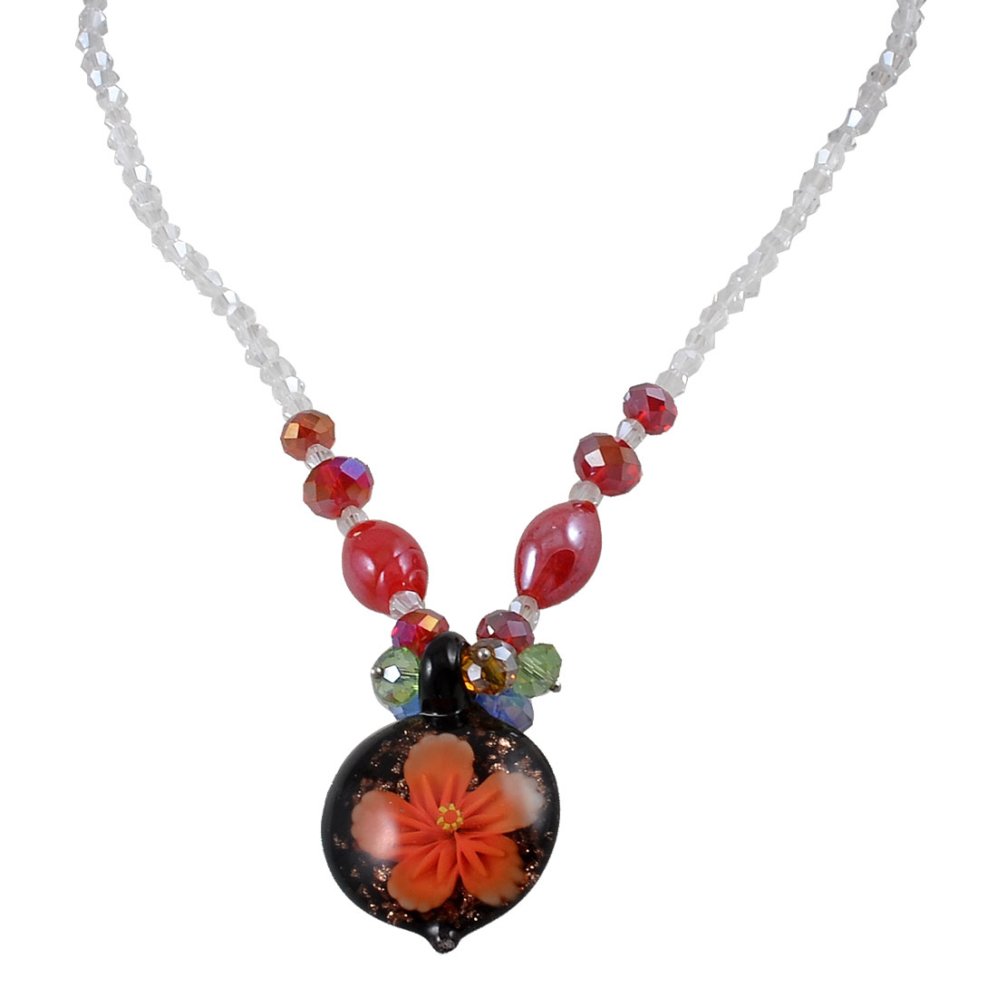 Ladies Colorful Faceted Crystal Beads Glitter Powder Flower Round Glass Pendant Necklace