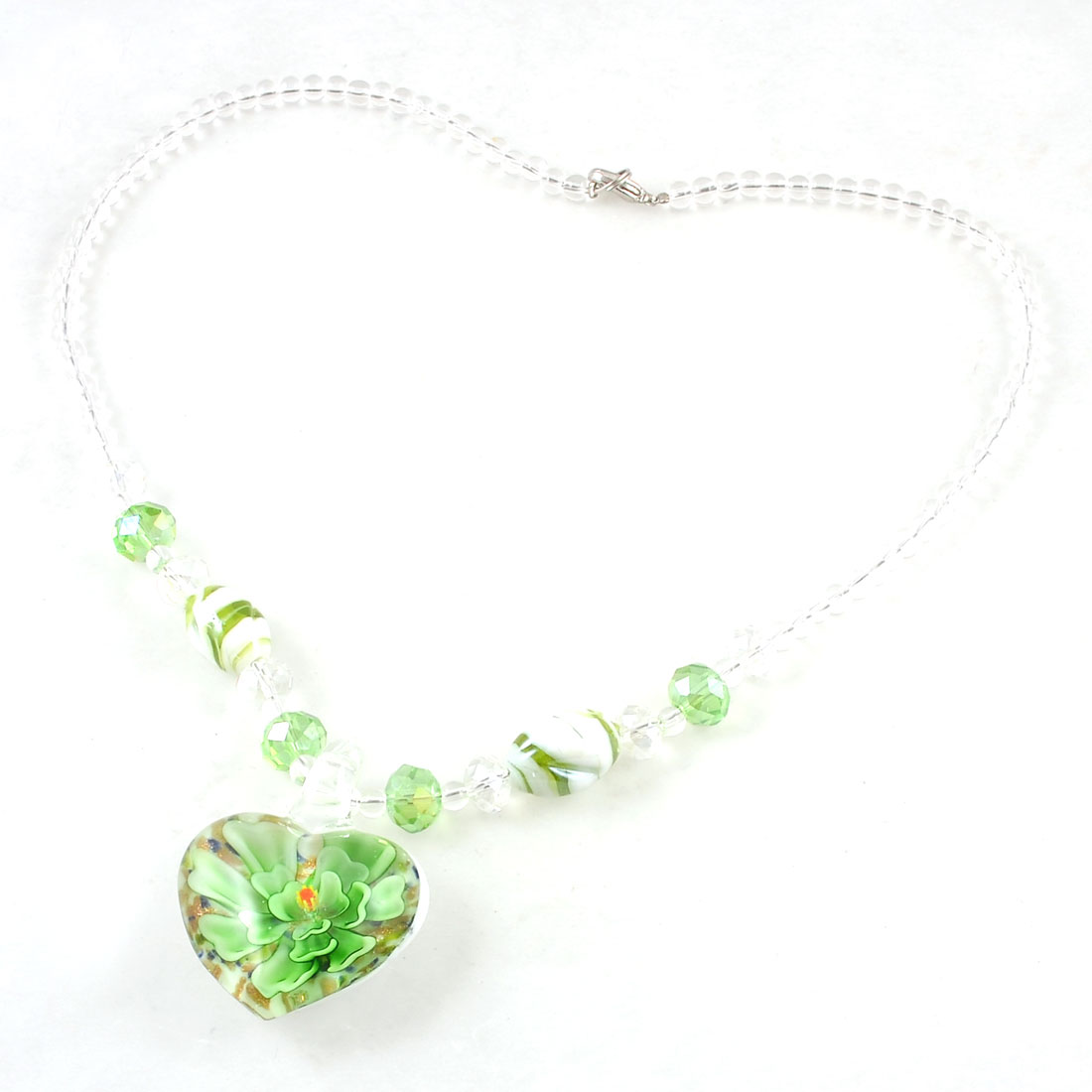 Ladies Green Clear Beaded Neck Strand Faceted Crystal Beads Glass Necklace
