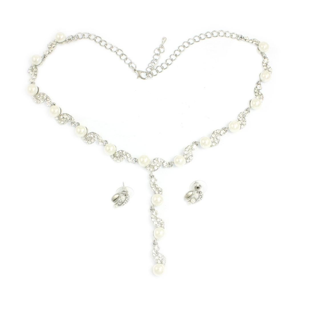 Lady Glitter Rhinestones Plastic Pearl Pendant Stud Earrings Necklace Jewelry 2 in 1