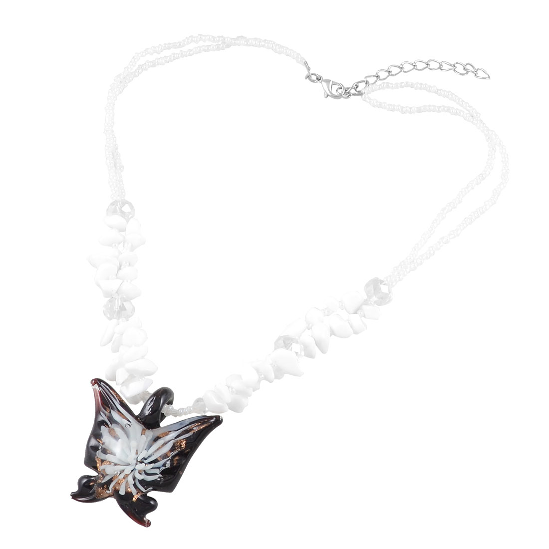 Women White Jewelry Glitter Powder Grass Butterfly Glass Pendant Necklace