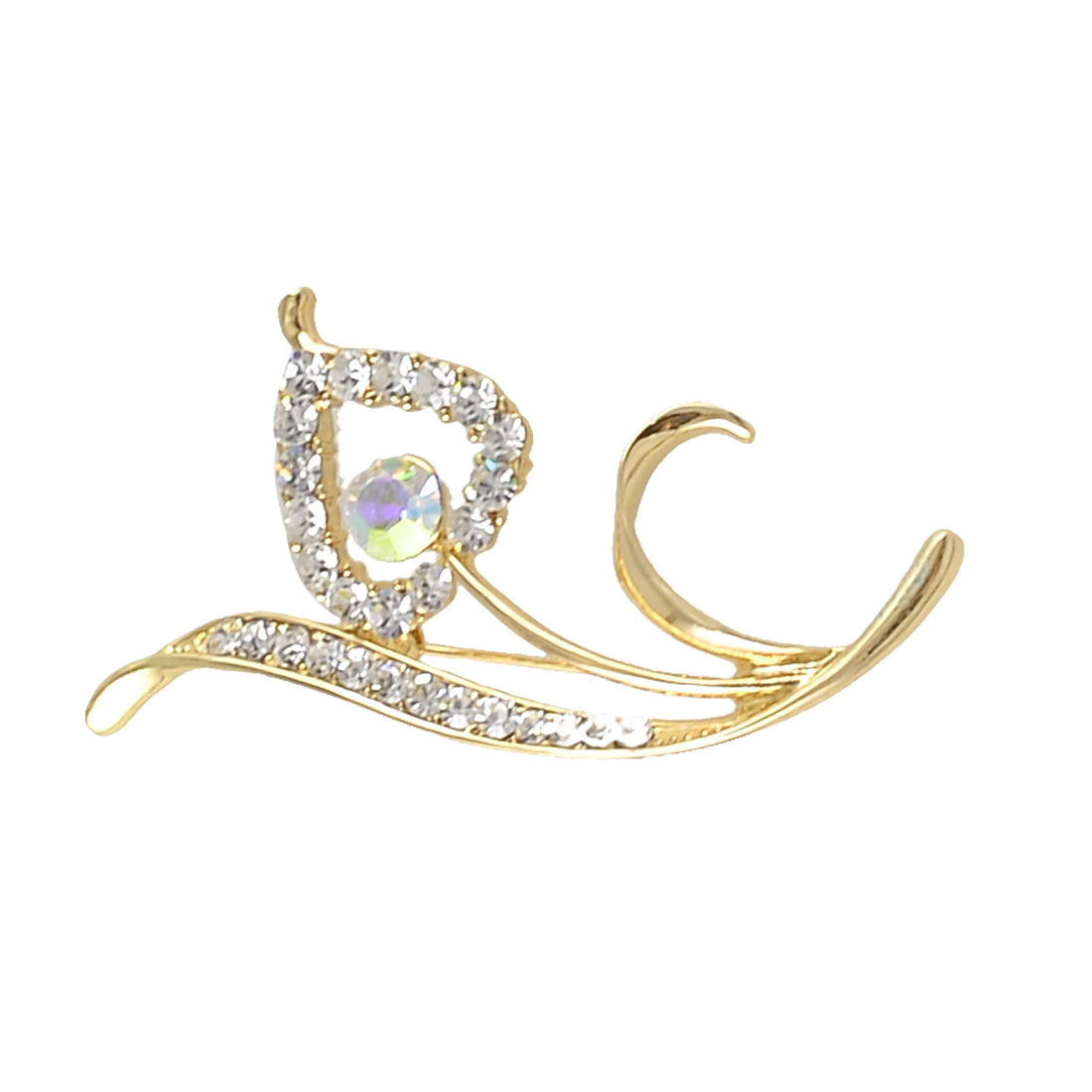 Women Parties Bling Crystals Leaves Design Breast Pin Brooch Gold Tone