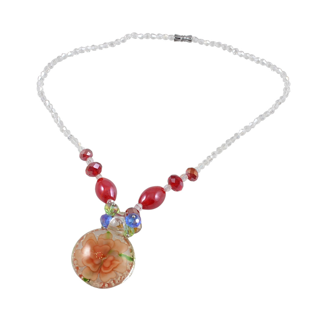 Ladies Red Clear Beaded Neck Strand Faceted Crystal Beads Glass Necklace