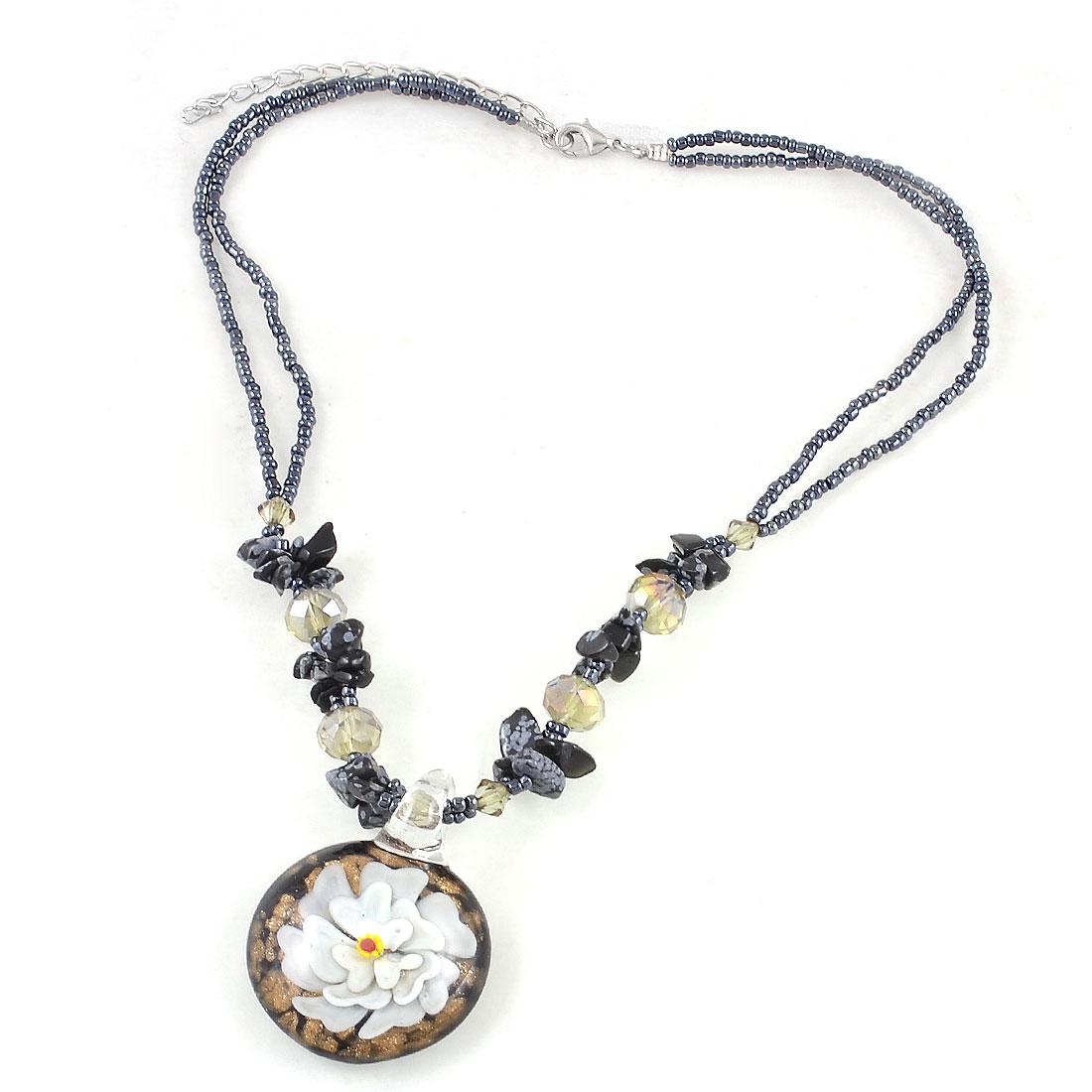 Women Dark Gray Jewelry Glitter Powder Flowers Glass Pendant Necklace