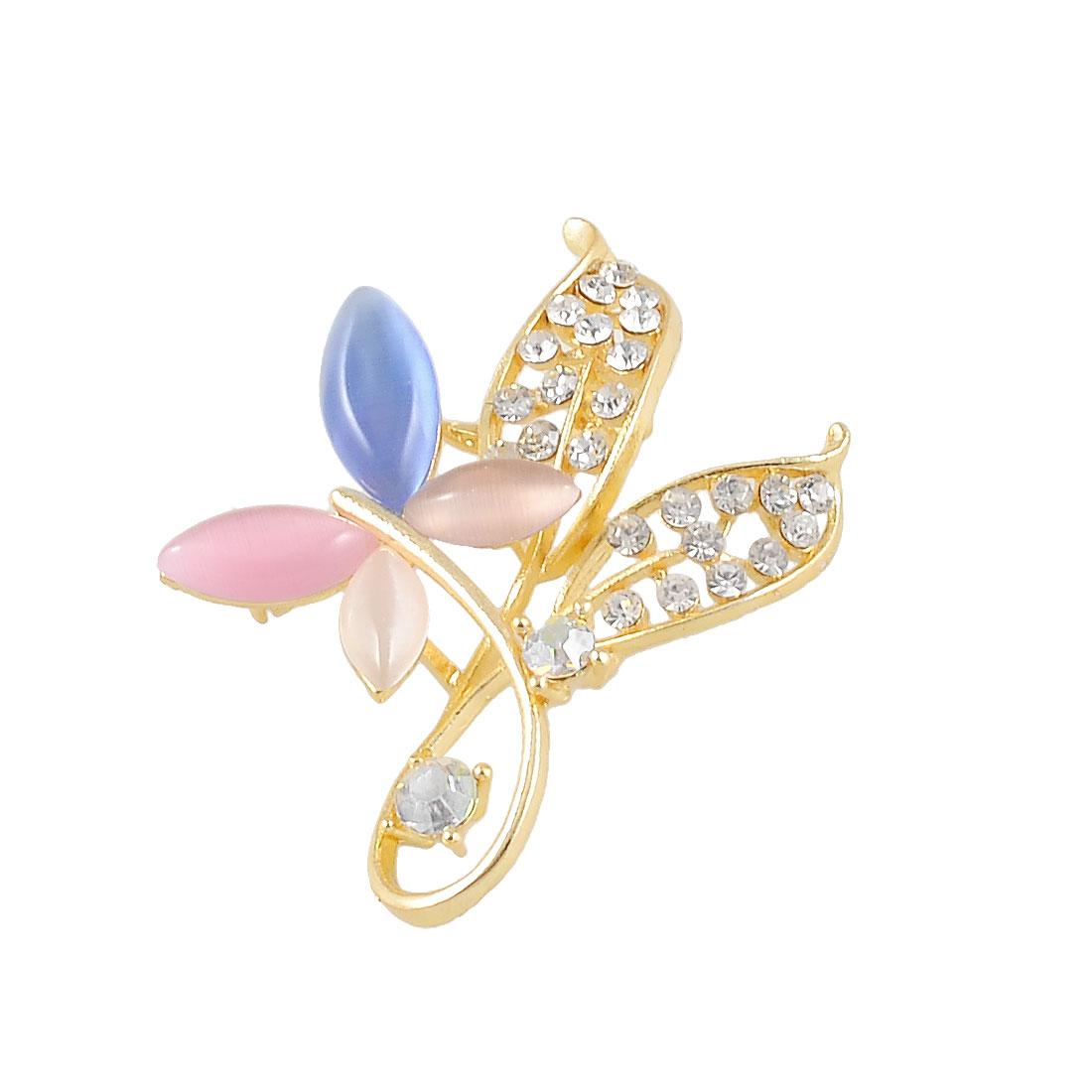Ladies Glod Tone Dual Leaves Multicolor Petal Beads Floral Breast Pin Brooch