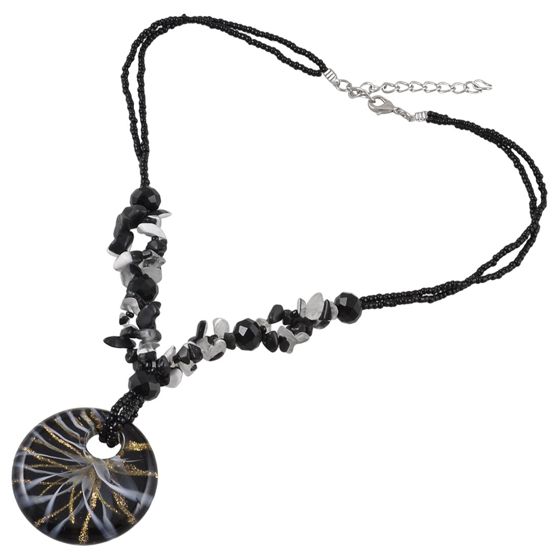 Women Multi Shaped Beads Accent Round Glitter Powder Floral Glass Pendant Necklace Black